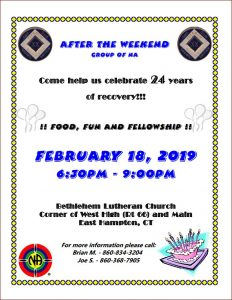 After the Weekend Group 24th Anniversary @ Bethlehem Lutheran Church | East Hampton | Connecticut | United States