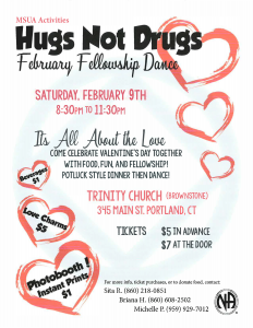 Hugs Not Drugs February Fellowship Dance @ Trinity Episcopal Church | Portland | Connecticut | United States