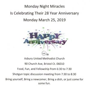 Monday Night Miracles 28 Year Anniversary @ Asbury United Methodist Church | Bristol | Connecticut | United States