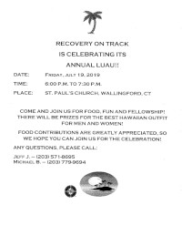 Recovery On Track Annual LUAU @ St. Paul's Episcopal Church | Wallingford | Connecticut | United States