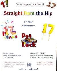 Straight From The Hip 17th Anniversary Pot Luck Dinner @ Emmanuel Lutheran Church | Meriden | Connecticut | United States