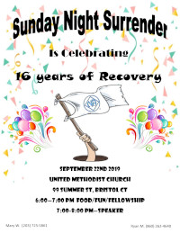 Sunday Night Surrender Celebrates 16 Years @ United Methodist Church | Bristol | Connecticut | United States
