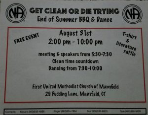 Get Clean or Die Trying Group End of Summer BBQ & Dance (Free) @ First United Methodist Church of Mansfield | Mansfield | Connecticut | United States