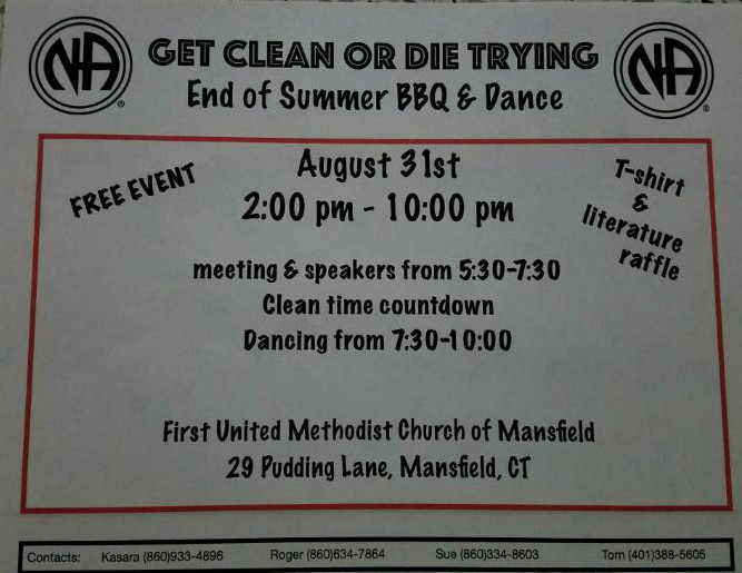 Get Clean or Die Trying Group End of Summer BBQ & Dance