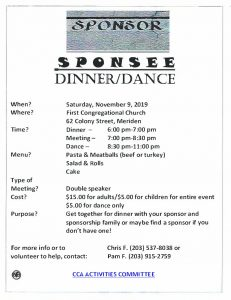 CCA Sponsor Sponsee Dinner/Dance @ First Congretional Church | Meriden | Connecticut | United States