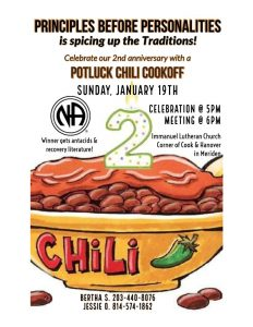 Potluck Chili Cookoff - Principles Before Personalities 2nd Anniversary @ Immanuel Lutheran Church | Meriden | Connecticut | United States