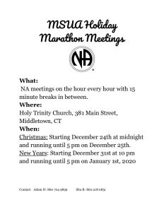 MSUA Holiday Marathon Meetings @ Holy Trinity Church | Middletown | Connecticut | United States