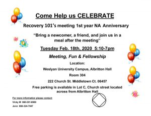 Recovery 101 One Year Anniversary @ Weslyan University Campus, Albritton Hall Room 304 | Middletown | Connecticut | United States