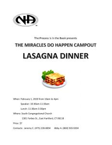 Lasagna Dinner - Miracles Do Happen Campout @ South Congregational Church | East Hartford | Connecticut | United States
