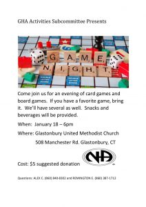 GHA Game Night @ Glastonbury United Methodist Church | Glastonbury | Connecticut | United States