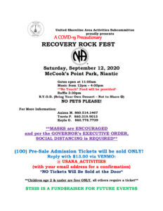 Recovery Rock Fest 2020 (PRE-SALE Tickets ONLY) @ McCook's Point Park | East Lyme | Connecticut | United States