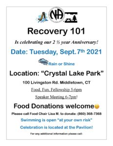 Recovery 101 Anniversary Celebration and Meeting @ Crystal Lake Park | Middletown | Connecticut | United States