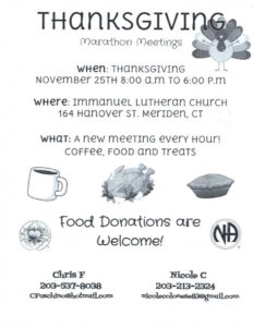 CCA Thanksgiving Day Marathon Meetings @ Immanuel Lutheran Church | Meriden | Connecticut | United States