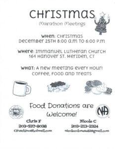 CCA Christmas Day Marathon Meetings @ Immanuel Lutheran Church | Meriden | Connecticut | United States