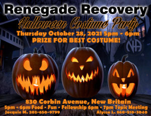 Renegade Recovery Halloween Costume Party @ First Church Of Christ | New Britain | Connecticut | United States